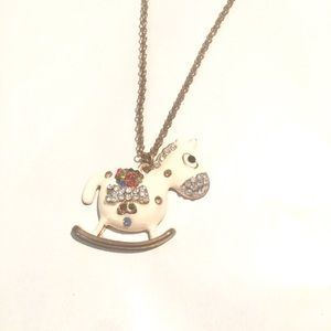 NWT Betsey Johnson White Crystal Horse Necklace